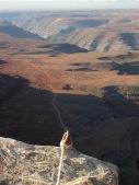 Cliffhanger, site-specific performance, Muley Point, north of Monument Valley, southeastern Utah, 2002. Photo: Geordie Shepherd